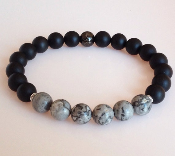 Men's Matte Black Onyx, Grey Picture Jasper 10mm Bead Bracelet , Men Bracelets, Gifts for him, Fathers Day Gift, Beaded Bracelet zmw0262