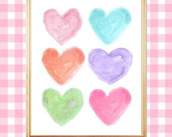 Bright Pastel Print, 8x10 Watercolor Heart Print, Pastel Baby Nursery, Girls Wall Decor, Pastel Decor, Bright Pastel Wall Decor, Rainbow