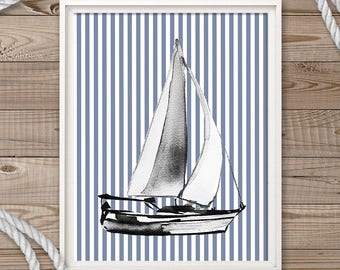Nursery Art Print, Nautical Print Art, Nursery Decor, Sail Boat Art, Blue Nursery Print, Boy Nursery Art, Printable Art, Modern Nursery