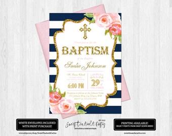Navy Girls Baptism Invitation Blue Stripe and Pink Rose Floral Baby Dedication or Christening Gold Digital File or Printed Invitations