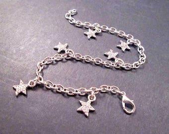 Silver Charm Bracelet, Seeing STARS, Beaded Chain Bracelet, FREE Shipping U.S.