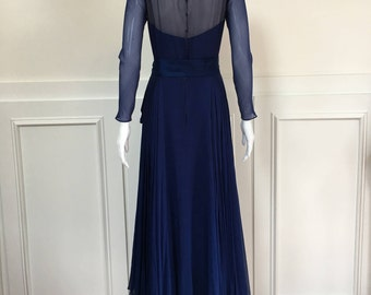 1950s/1960s Ethereal Malcolm Starr Navy Blue Ball Gown  (SKU 10263CL)