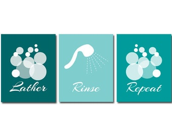 Bathroom Wall Art PRINTS or CANVAS, Lather Rinse Repeat, Aqua Bathroom Decor, Modern Bathroom Art Print, Set of 3 Home Decor - BATH1