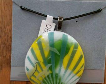 Sunrise with Egrets Fused Glass Pendant