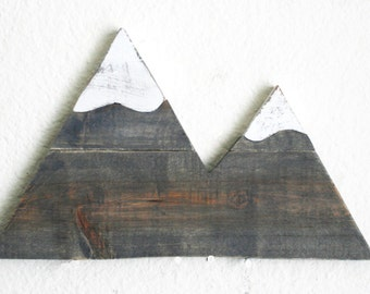 Mountain Wood Cutout. Wilderness. Forest. Gift. Home Decor. Rustic Decor. Nursery. Hand Painted.