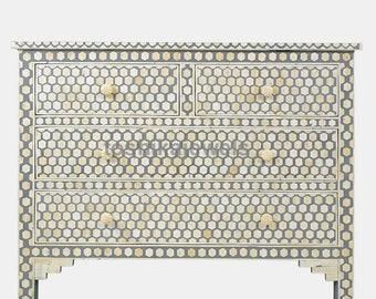 Bone-Inlay-Antique-Handmade Drawer Sideboard Furniture Art