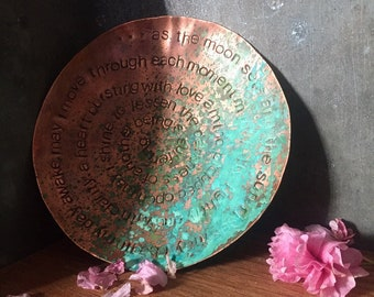 """morning mantra - warm copper offering bowl with patina - 6"""""""