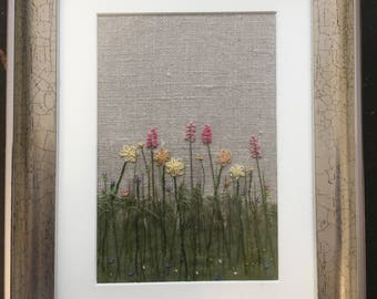 "Original Textile Art, ""Meadow Grass"", Framed picture"