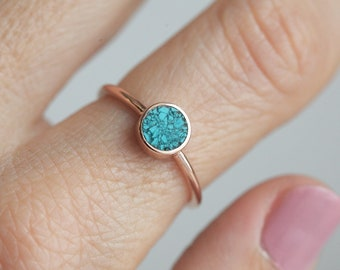 Round Turquoise ring, Turquoise Engagement Ring, Simple Turquoise ring, Solitaire turquoise Ring, Rose Gold Ring, Rose gold band
