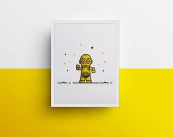 C3PO (poster 8 x 10 Star Wars, illustration, poster)