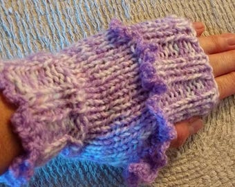 Hand Knitted Chunky Fingerless Gloves Wrist Arm Warmers