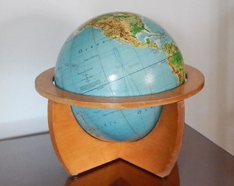 1960's Cartocraft 12 Inch Visual Relief Globe by Denoyer Geppert Company