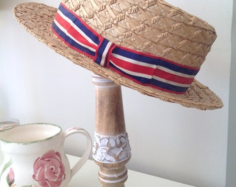 Straw hat, Vintage natural straw boater,  straw boater, garden party, tea party, theatre prop, Richards & Thirkell UK, ribbon