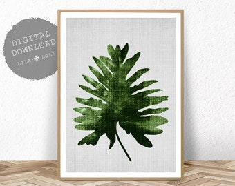 Palm Leaf Print, Botanical Wall Art Decor, Digital Download, Printable Large Poster, Printable Palm Leaf Decor