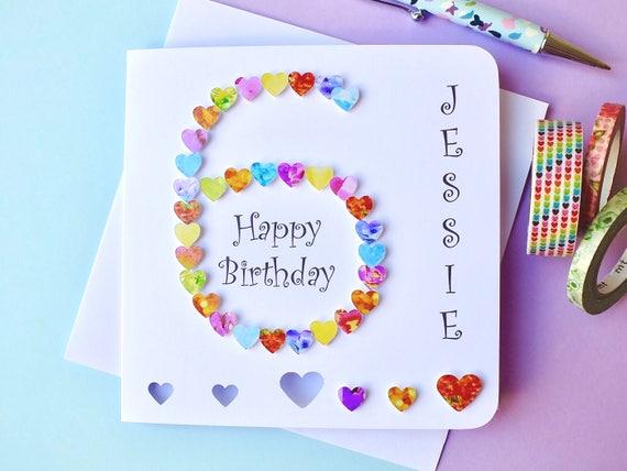 6th birthday card custom personalised age 6 card happy bookmarktalkfo Images