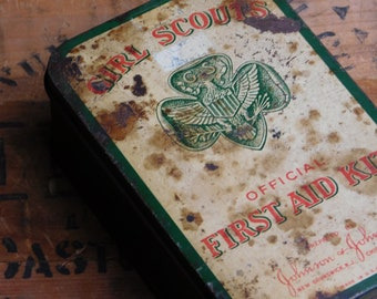 Vintage Girl Scouts First Aid Kit Tin Box