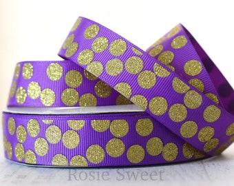 "7/8"" Purple/Gold Glitter Polka Dot Grosgrain Ribbon"