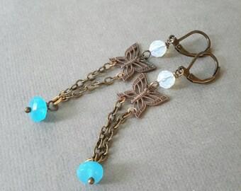 Butterfly Blue Earrings, Blue Chalcedony Dangle Earrings, Opalite Bead Earrings, Nature Jewelry, Brass Jewelry, Butterfly Jewelry