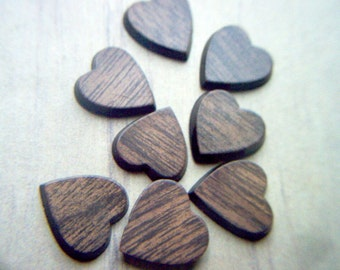 Vintage Plastic Woodgrain Heart Cabochons x 15   #  X  1-2-3-4