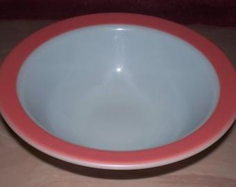Corning Serving Bowl Pink Trim Quart Size Vintage