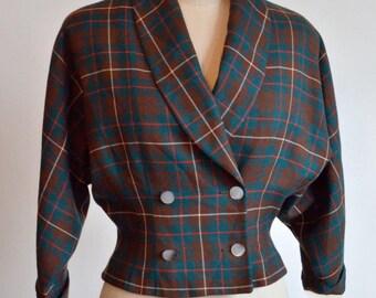 Vintage plaid wool jacket  // Vintage wool jacket // Vintage jacket // 60s