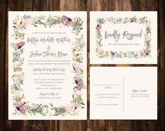 Printable Lavender & Blush Whimsical Bohemian Wedding Suite