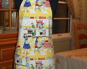 Fun Retro Adult Apron in Michael Miller Fifties Kitchen Home Ec Fabric