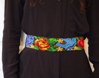 Bead Belt, Beaded Belt, Mexican Beaded Belt, Mexican Bead Belt, Woven Bead Belt, Handmade Bead Belt, Handmade Belt, Woven Belt, Belt Woven