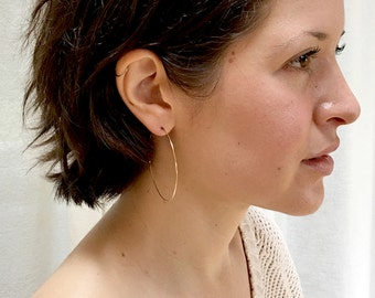 Gold Hoops, Medium 14k Gold Fill Infinity Hoop Earrings, 14k Gold Fill and Sterling Silver Hoops, Metal Hoop Earrings
