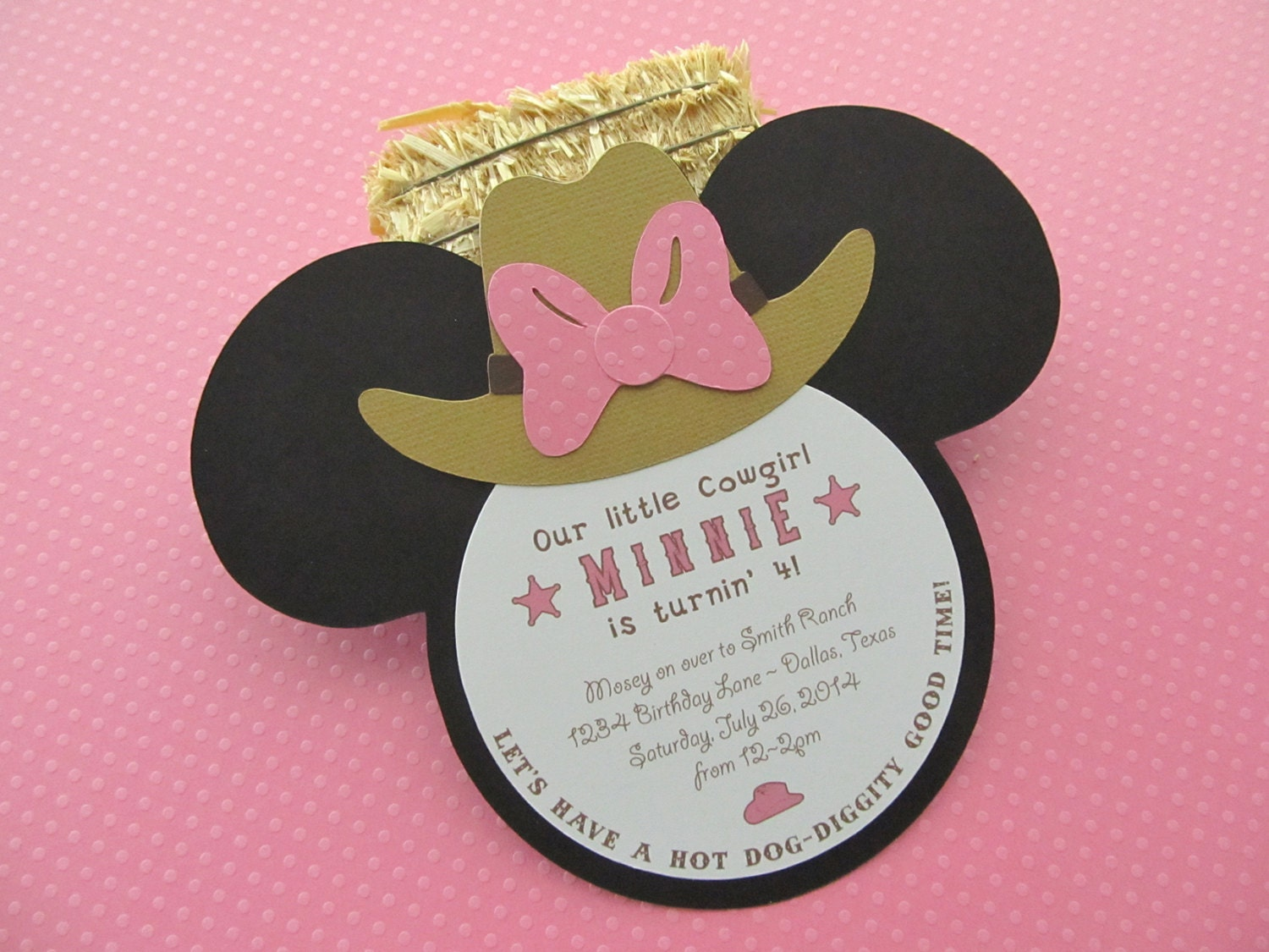 Western themed Minnie Mouse birthday party invitation