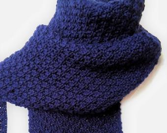 GARRYVOE SCARF Long Blue Scarf/Handknit Wool Scarf/Gift for Him/Handknit Blue Scarf/Mans Navy Blue Scarf/Blue Wool Scarf/Blue Knit Scarf