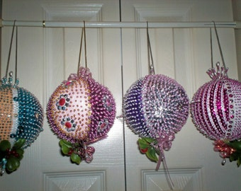 Christmas Mistletoe Hanging Large Ornament Various Colored Sequins 12 Inch In Diameter