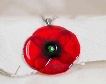 Handmade Poppy necklace. Made in UK.