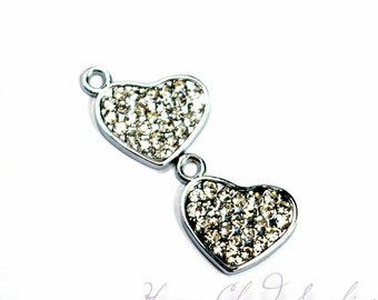 Sparkly and Sweet Heart Rhinestone Charm... 2pcs