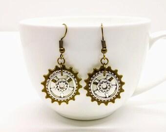 Steampunk Earrings Cog Gear Jewellery Bronze Silver Accessories