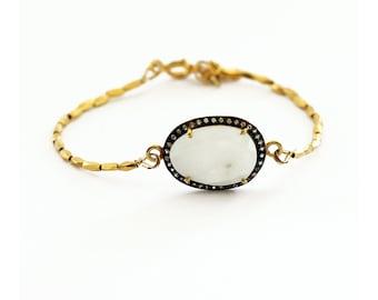 Rainbow Moonstone  Bracelet - Pave White Topaz Bracelet - 24kt Gold Plated Sterling Silver Bracelet - Boho Luxe Bracelet