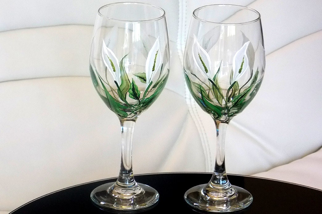 Hand Painted Wine Glass Calla Lily White Flowers Hand Painted