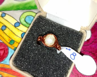 Copper candy white bead wire wrapped ring