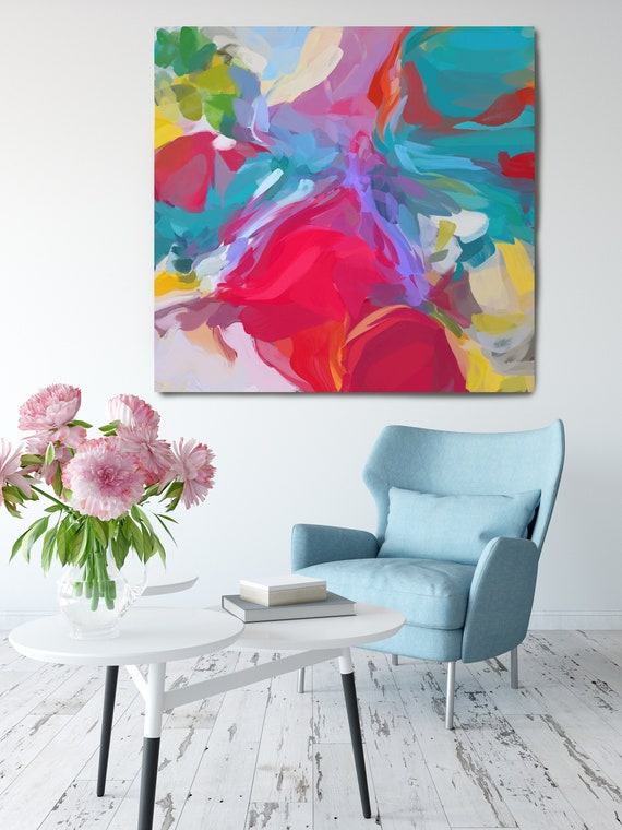 "Chain of Reality. Blue Red Abstract Art, Wall Decor, Large Abstract Pink Blue Contemporary Canvas Art Print up to 50"" by Irena Orlov"
