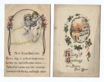 New Year Kids Father Time Embossed Angels Literary Poem Poetry 9 Postcards Postmarks 1910 and 1924