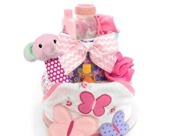 Butterfly Garden Baby Diaper Cake, Baby Shower Centerpiece and Gift