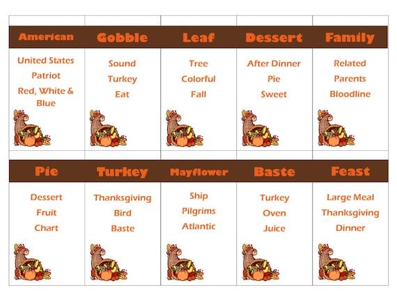 Druckbare Thanksgiving Spiel Tabu Karten sofort-DOWNLOAD