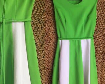 60s Mod Twiggy Dress - Womens Large - 38 Bust - Green and White Dress - Striped Mod Dress - Color Block Mod Dress - GoGo Dress - Polyester