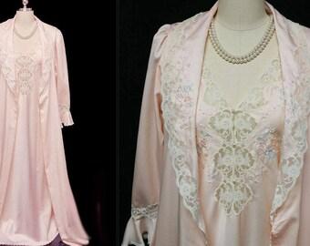 Vintage Sara Beth Lord & Taylor Pink Bridal Peignoir Nightgown Set pearls lace peignoir embroidered nightgown pink robe vintage nightgown
