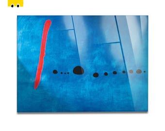 Plexiglass square Prints on acrylic glass-Joan Mirò-BLUE 2-Yellow BUS