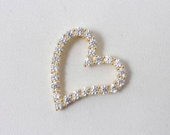 Solid 14K Yellow Gold CZ Floating Heart Slide Pendant Charm, 1.8 grams