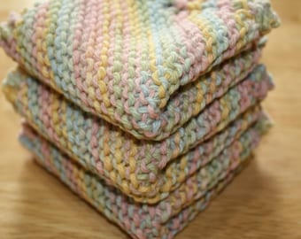 Pastel Knit Dish Cloth Set of 3, Knit Wash Cloths