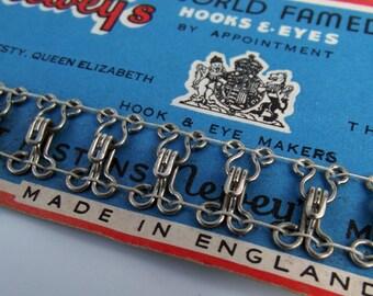 Vintage Silver Hook & Eye Sheet - Incomplete Pack
