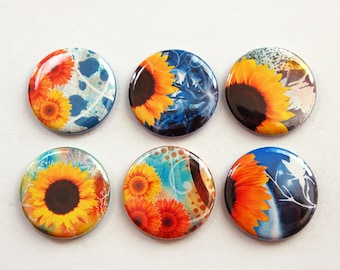 Sunflower Magnets, Floral magnets, Nature Magnets, Flowers, Floral, button magnets, Kitchen Magnets, Sunflower, stocking stuffer (3339)
