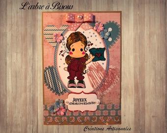 Magnolia doll birthday card and hearts - handmade girl birthday card